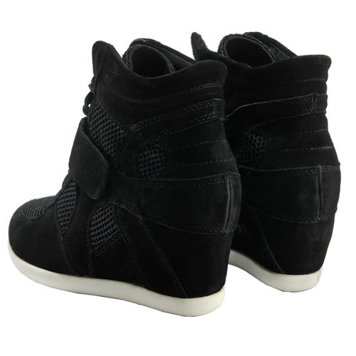 amp;Suede Wedge Black Generice Cute Sneakers Womens Nylon Hidden Heel Fashion PYYrzw5q