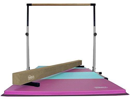 Little Gym - White Adjustable Horizontal Bar - Tan Low Balance Beam - Pink/Light Blue Gymnastics Folding Mat