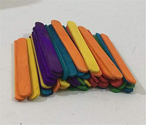 Moonnight Store 30sets 50Pcs/set 11cm Colored Wooden Popsicle Sticks Natural Wood Ice Cream Sticks Kids DIY Hand Crafts Art Ice Cream Lolly by Moonnight Store (Image #4)