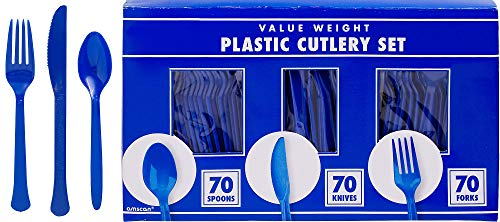amscan Big Party Pack Window Box Cutlery Set | Bright Royal Blue | 210 ct. | Party Supply -