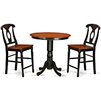 East West Furniture JAKE3-BLK-W 3 Piece Dinette Table and 2 Counter Height Stool Set