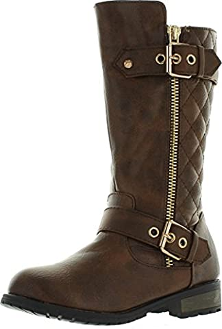 Mango-21k Little Girls New Knee High Flat Synthetic Riding Boots Shoes (3, Brown) - Boots