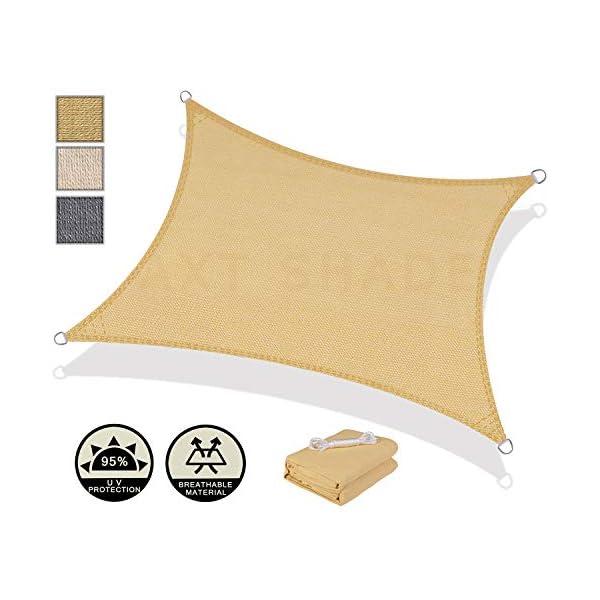 AXT SHADE Tenda a Vela Rettangolare 3,5 x 4,5m, Traspirante e Protezione Raggi UV, per Esterni, Cortile, Giardino… 2 spesavip
