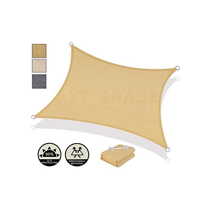 41QMkn QG0L Hecho de material 185g/㎡ HDPE y rechazo de materiales reciclados, más saludable y seguro.No se recomienda su uso en tormentas eléctricas, fuertes lluvias, tormentas y días de nieve Ofrece hasta un 95% de protección ante los rayos UV , el material respirable permite que el agua y el aire pasen libremente.Proteja de forma segura a su familia de los rayos dañinos del Sol durante largos periodos de tiempo Diseño de borde cóncavo para un mejor estiramiento. La costura del producto apunta al suelo. Instale en un ángulo de 20-40 grados con la máxima tensión, el agua puede fluir más fácilmente