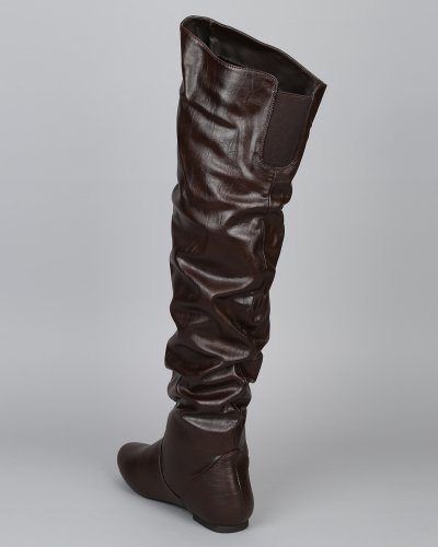 Women AC09 Boot Thigh Leatherette Brown Nature Slouchy High Breeze HxAw0w