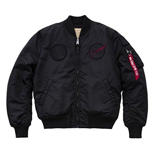 1 MA VF Hombre Negro NASA bombardero Industries Verde Logo Alpha chaqueta Negro de TRqZtt