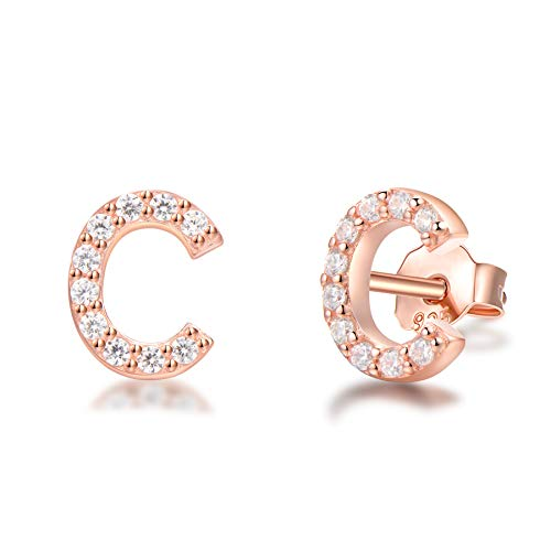 H&c Rose Silver - Rose Gold Plated 925 Sterling Silver Cubic Zirconia Small Letter Initial Stud Earrings Alphabet A-Z For Kids Teen Girls Women