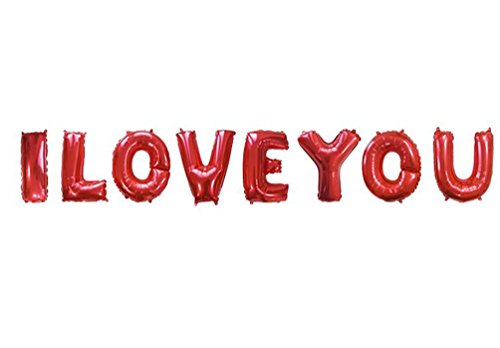 SGODA I Love You Red Letters Foil Balloons Valentine