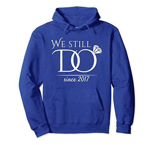Unisex 1st Wedding Anniversary Hoodie For Married In 2017 W Large Royal Blue