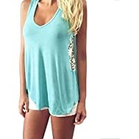 GONKOMA Women Summer Lace Vest T Shirt Casual Blouse Tank Tops