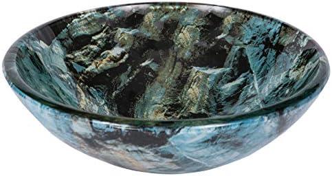 Eden Bath Cliffside Multi-Colored Round Glass Bathroom Vessel Sink