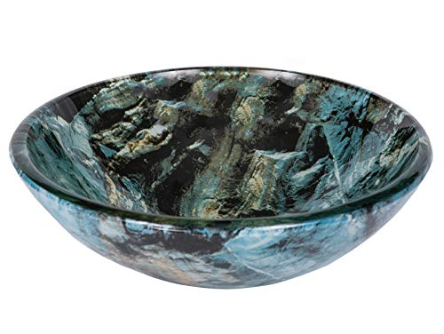Eden Bath Cliffside Multi-Colored Round Glass Bathroom Vessel Sink