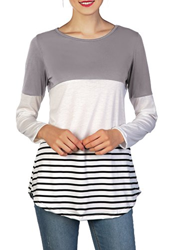 Chvity Women's Back Lace Color Block Tops Long Sleeve T-Shirts Blouses (XL, Gray)