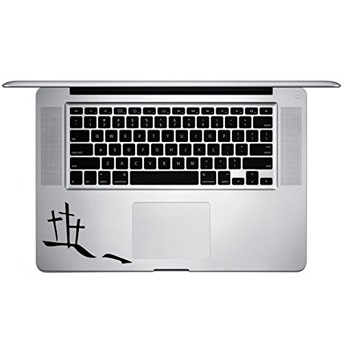 "Calvary Hill Silhouette Crosses Christian Vinyl Sticker Laptop Keyboard Inside Corner iPhone Cell Decal (3.5"" Wide)"