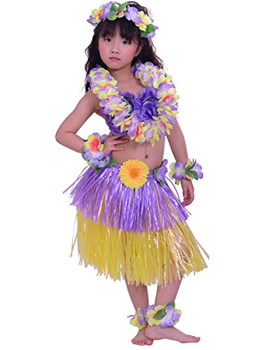 Hawaiian Dance Costumes For Kids (Kids Hawaiian Hula Dance Costume Ballet Performance Layered Dress Skirt Garland For Girl Child 40CM Full Set Dichromatic)