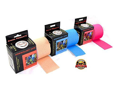 Anuva Products Kinesiology Tape with Free Taping E-Guide - 16ft Uncut Roll - Best Pain Relief for Muscles, Shin Splints, Plantar Fasciitis, Knee & Shoulder - Water Resistant Theraputic Aid
