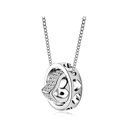 AROUND 101 Christmas Gift - White Gold Plated Heart Ring Pendant Necklace for Women with Diamond Cut Austrian Crystals Fashion Jewelry -- SGS International Authoritative Certified; Three Layers Real 18K ()