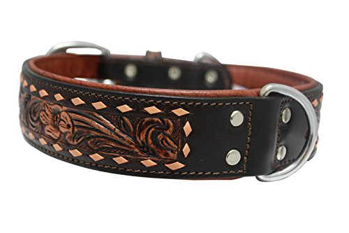 """Genuine leather dog collar. 24"""" x 1.5"""", Western tooled colla"""