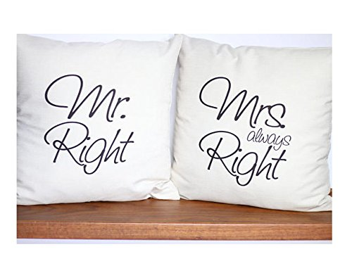 ays Right Pillow Cover Set   Wedding Gift   Anniversary Gift   Valentine Gift   Bridal Shower   Cotton Anniversary   Bed Cushions   16x16 (Bridal Shower Sweatshirts)