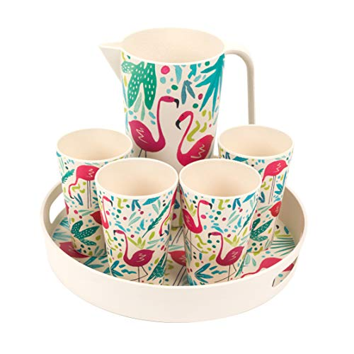Combo Jugs (Cambridge COMBO-3145 Flamingos Bamboo Eco Friendly Cups, Jug and Serving Tray - 6 Piece)
