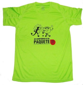 Gopadel - Camiseta pádel técnica mi compañero es un paquete, talla xxl, color pistacho