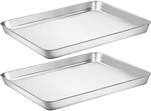 "Baking Pan Cookie Sheet Dishwasher Safe Mirror Finish Stainless Steel 16/""X12"