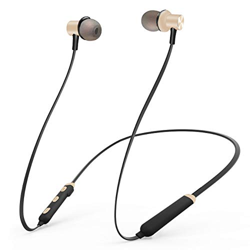 Bluetooth Headphones, Wireless Earbuds 4.2 Magnetic Bluetooth Earphones Lightweight & Sweat-Proof Earbuds with Mic, in-Ear Earphones Sports Compatible with iPhone and Android Phones (Gold)