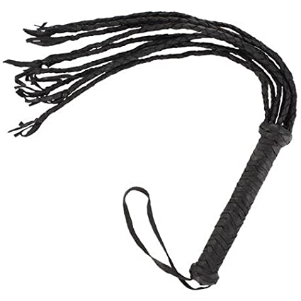 Braided Black Leather Scourge Cat O Nine Tails Whip General Edge