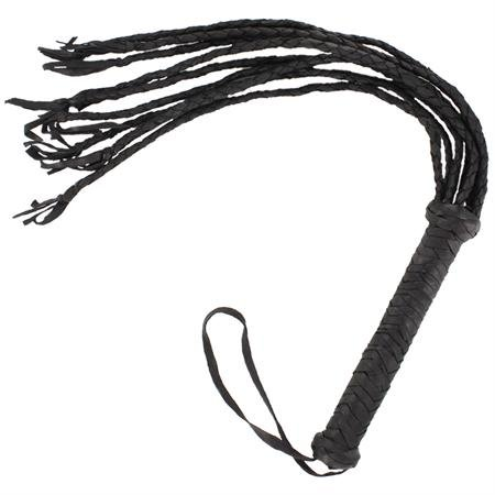 Braided Black Leather Scourge Cat O Nine Tails Whip