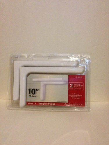 10-inch White Designer Shelf Bracket - Set of 2 - Model HD-0
