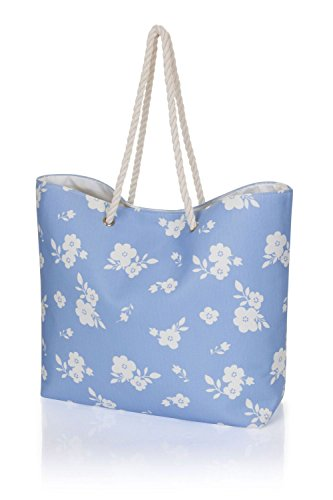 Styles Shopping Varioues Ladies Tote Flowers Summer Blue Canvas Bag Beach Large aFSq8