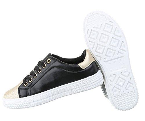 Damen Freizeitschuhe Schuhe Sneakers Sportschuhe Turnschuhe Weiß Gold 40 YT2JBn2b