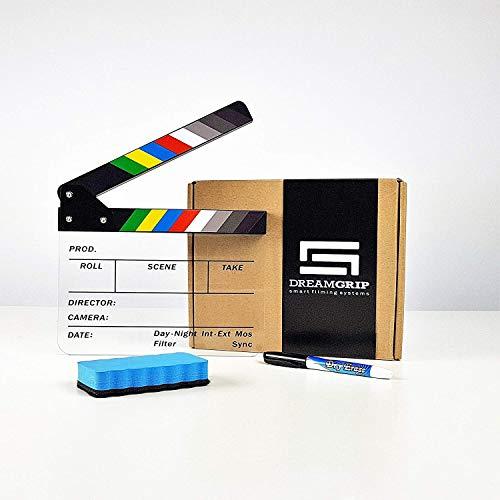 Original DREAMGRIP Acrylic Plastic Dry Erase Directors Film Clapper Board 8.7x7.1/22x18cm Color Sticks with Dry Erase Marker and Wiper