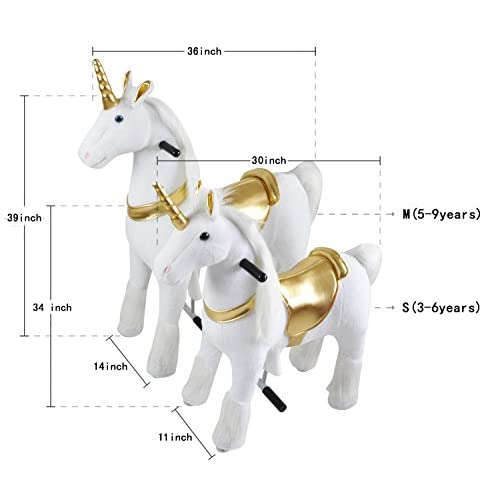 39209cdca8e Mechanical Ride on Gold Unicorn Simulated Horse Riding on Toy Ride-on Toys   More