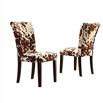 Home Portman Cow Hide Parson Side Chairs Set Of 2 These Parsons Are An Elegant Addition To Your Dining Room Furniture Ensenble