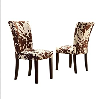 Home Portman Cow Hide Parson Side Chairs (Set Of 2), These Parsons Chairs