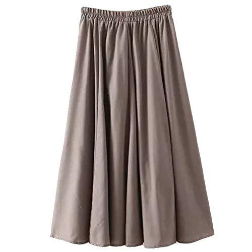 Femme Jupe Haute Pleated Vintage sur Le C?T Jupes De Couleur Unie Occasionnels Gris