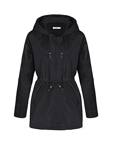 A Blues Man Womens Lightweight Lining Hooded Waterproof Outdoor Zipper Rain Jacket