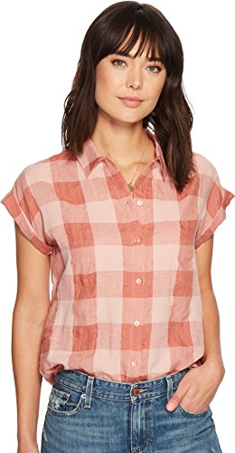 (Lucky Brand Women's Short Sleeve Button up Plaid Top, Pink/Multi, M)