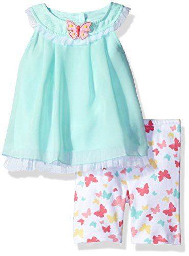 Butterflies Capri Girls Baby Clothes (BON BEBE Baby Girls' 2 Piece Chiffon Dress Set with Capri Short, Minty Butterfly, 24 Months)
