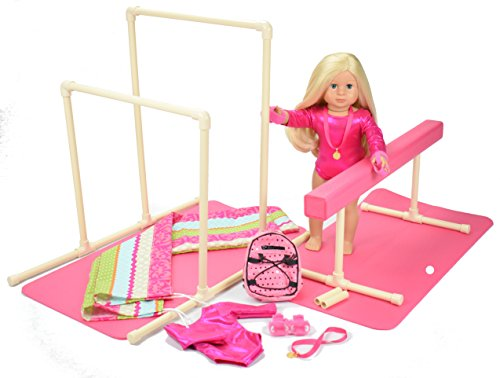 American made Gymnastics Balance Beam / Uneven Bars Set with Mat and Carry Bag & Leotard for 18 inch Girl Doll (American Girls Doll Mckenna)