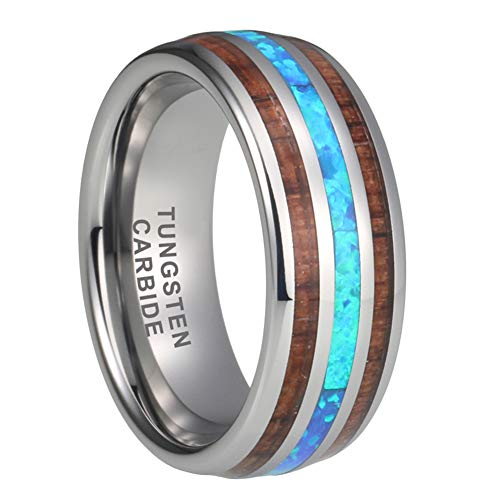 iTungsten 8mm Tungsten Rings for Men Women Wedding Bands Blue Opal Koa Wood Inlay Domed Polished Shiny Comfort Fit