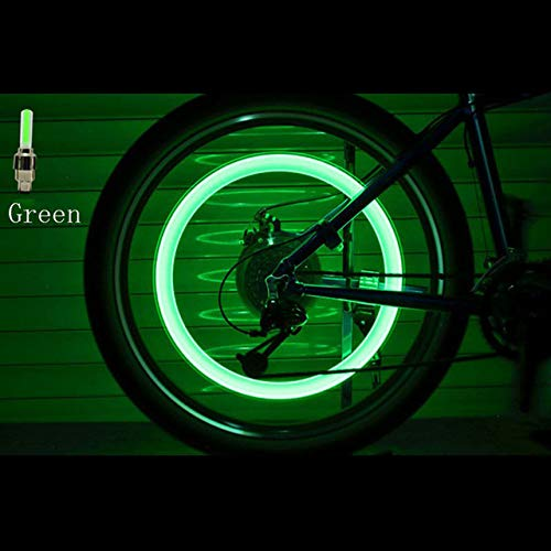 2PCS Bicycle LED Light Tire Valve Valve Cap Bicycle Flash Wheel Light LED Neon Cover Wheel (Green)