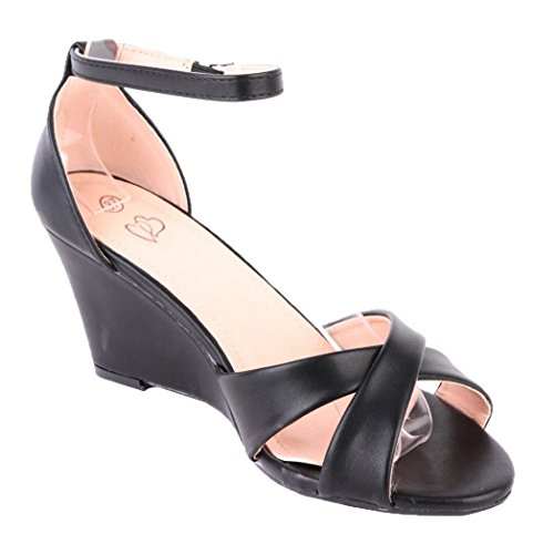 Ladies Black Strappy High Shoes P40 Strap CRAZY Sandals Wedge SHU Ankle Summer Buckle Womens Heel EC60wq