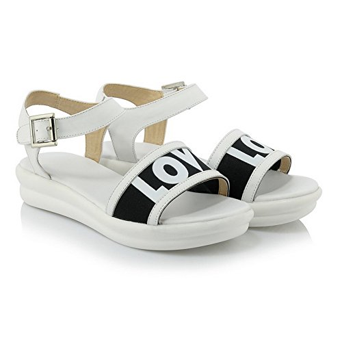 AmoonyFashion Womens Buckle Open Toe Low Heels Cow Leather Assorted Color Sandals White eJsKSiS1Wn
