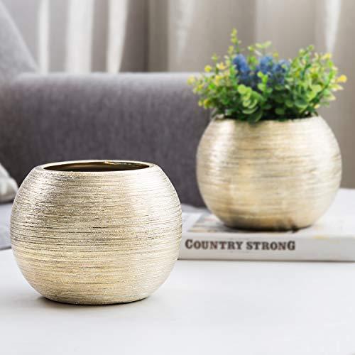 Modern Round Metallic Gold-Tone Ceramic Flower Bowl Vases, 4-Inch Planter Pots, Set of 2