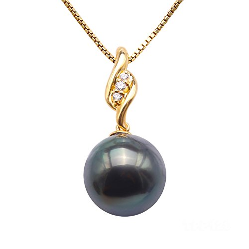 (JYX Pearl 18K Yellow Gold 10.5mm Peacock Green Round Tahitian Pearl Pendant Necklace Dotted with Diamonds)