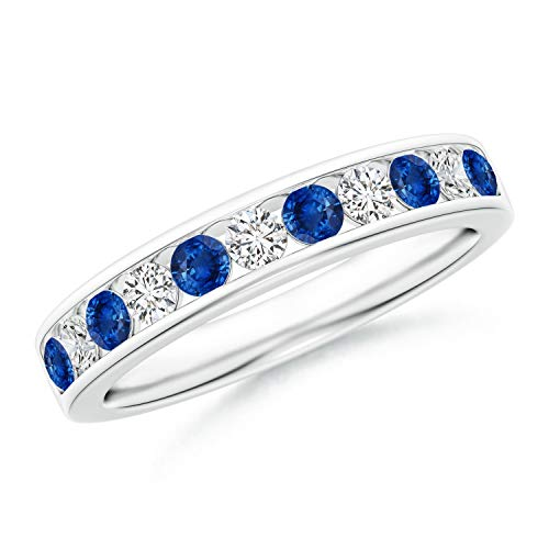 Channel Set Sapphire and Diamond Semi Eternity Band in 14K White Gold (2.5mm Blue Sapphire) ()