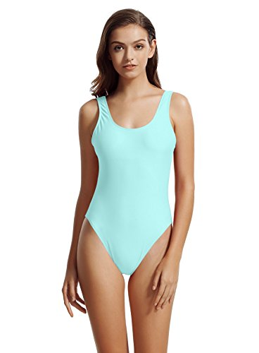 zeraca Women's Retro High Cut Low Back One Piece Bathing Suits Monokini (L14, Jetstream Blue) -