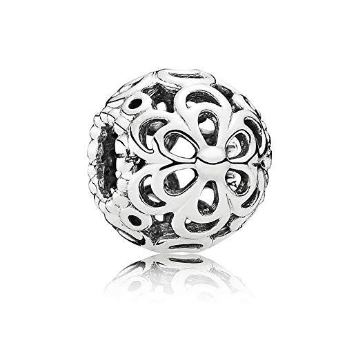 Romántico Amor Daisy Flower Charm Openwork 925 Sterling Silver Bead fit Pandora Bracelets